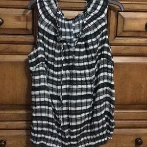 Ana Woman Black & White Plaid Tank Top NWT